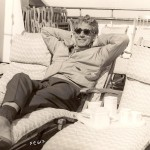 Paul having tea on the liner Queen Elizabeth while returning from a trip to England. 1967