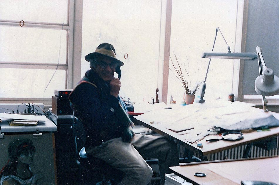 At the drawing board in his New City studio